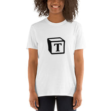 Load image into Gallery viewer, 'T' Block Monogram Short-Sleeve Unisex T-Shirt