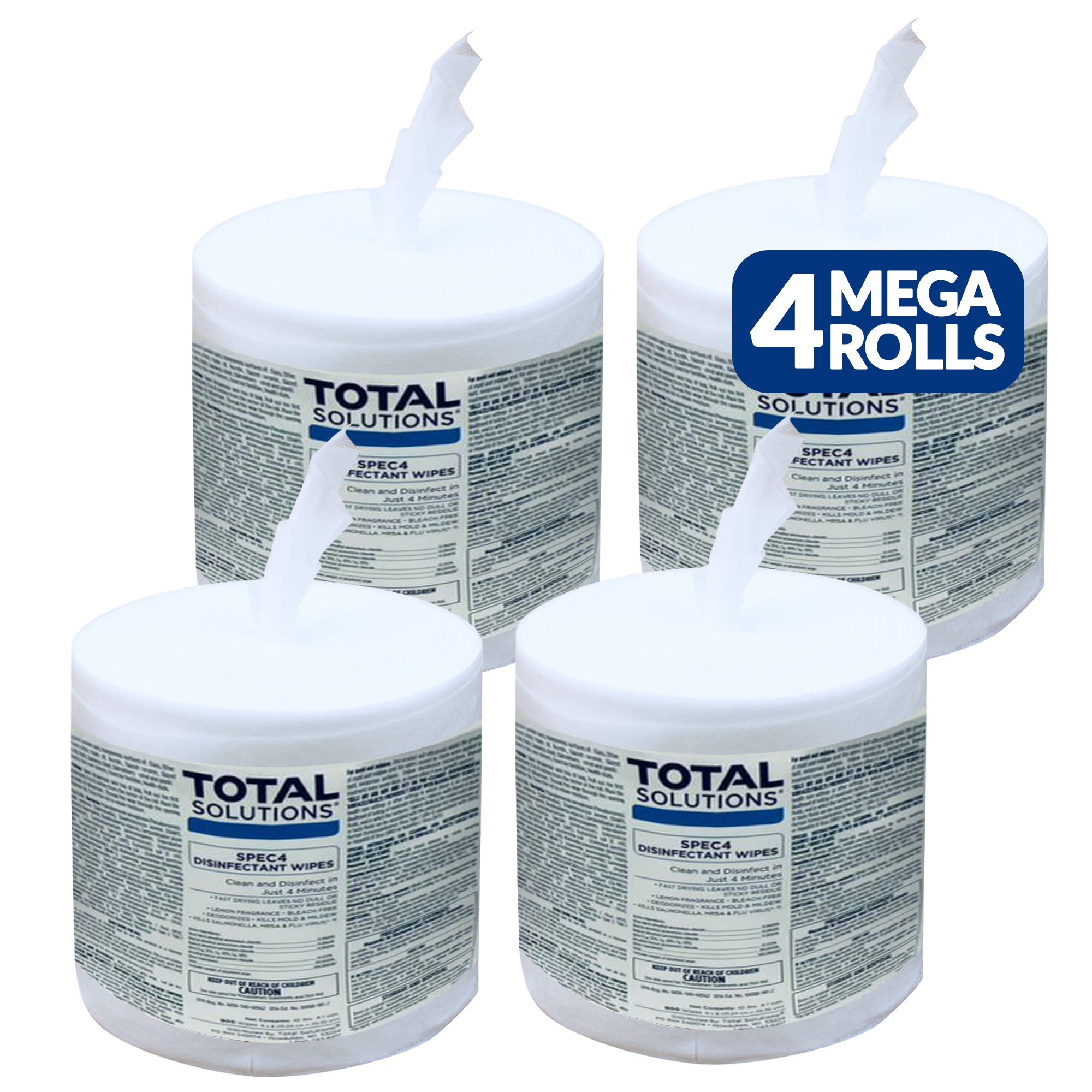 "Total Solutions Hospital Grade Disinfecting Wipes: 3600 Wipes (8"" x 6""): 4 Refill Mega Rolls - EPA Registered"
