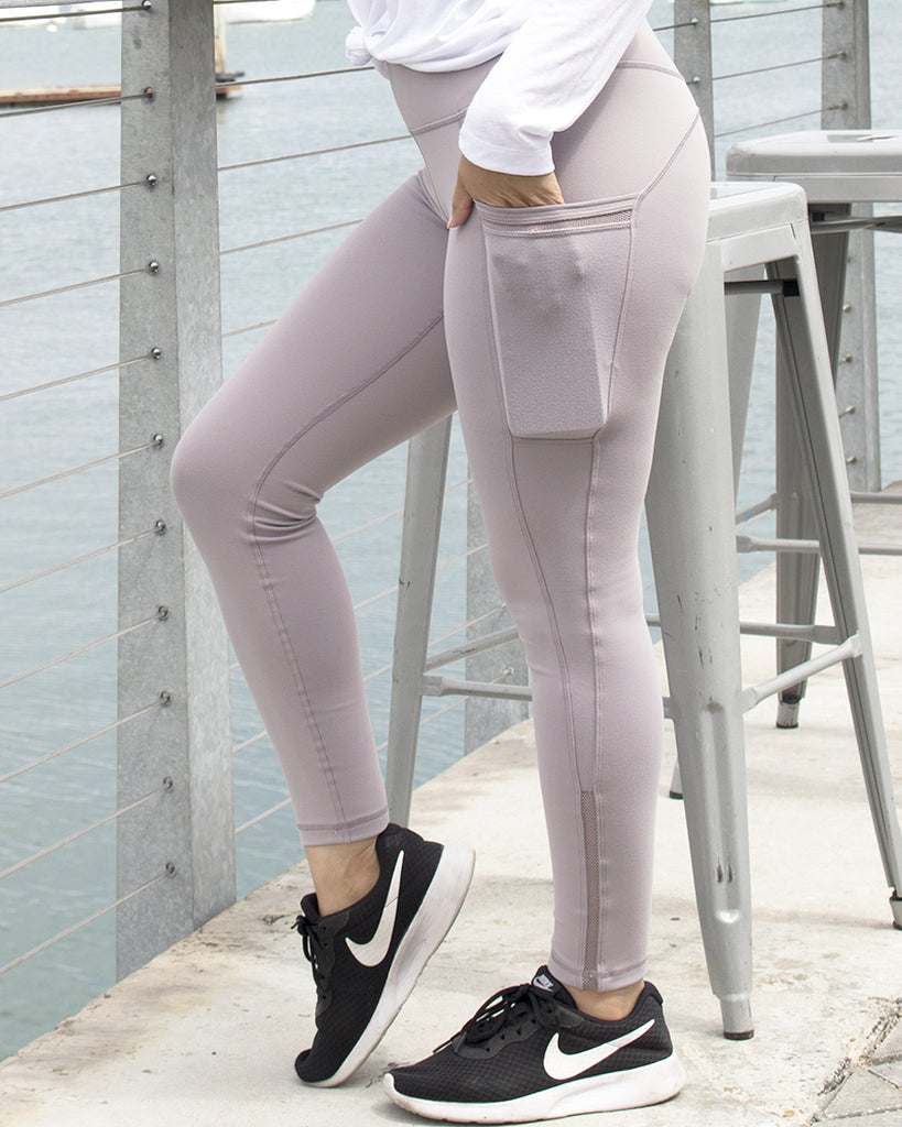Mauve High Waist Leggings with pockets
