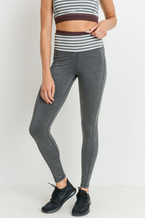 Heather Gray Striped High Waist Leggings with Burgundy Accent
