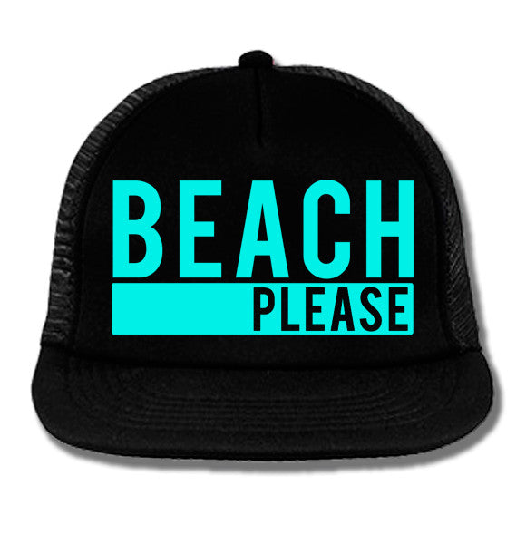 BEACH PLEASE Black Trucker Hat with Aqua Print
