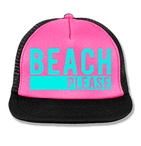 BEACH PLEASE Pink Trucker Hat with Aqua Print