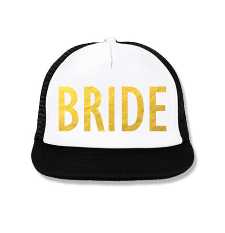 BRIDE Snapback Trucker Hat White with Gold Foil Print