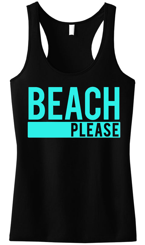 BEACH PLEASE Black Tank Top with Aqua Print