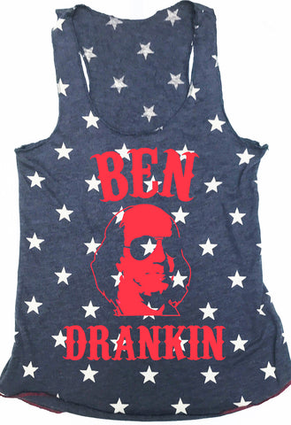 BEN DRANKIN Blue Stars Tank Top with Red Print