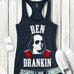 Ben Drankin - Navy Tank with White & Red Print