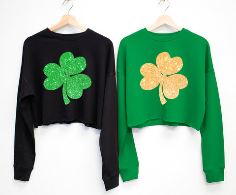 GLITTER SHAMROCK St. Patrick's Day Cropped Sweater