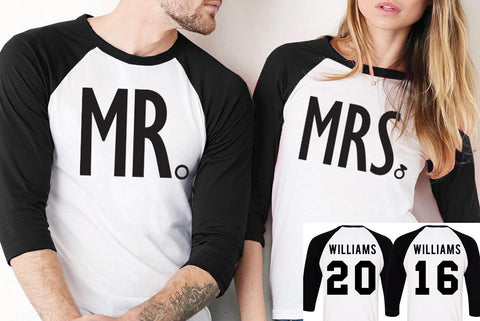 MR + MRS Baseball Tees CUSTOM NAMES + NUMBERS - Pick Color