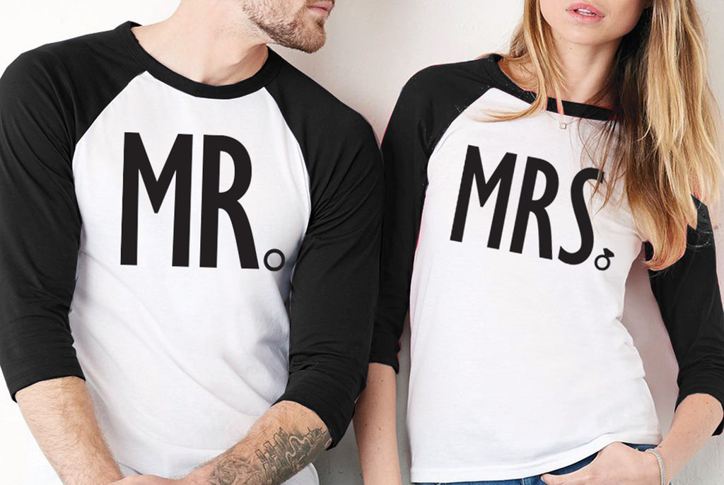 MRS Bride Shirt & MR Groom Baseball Tees Set - PICK COLOR