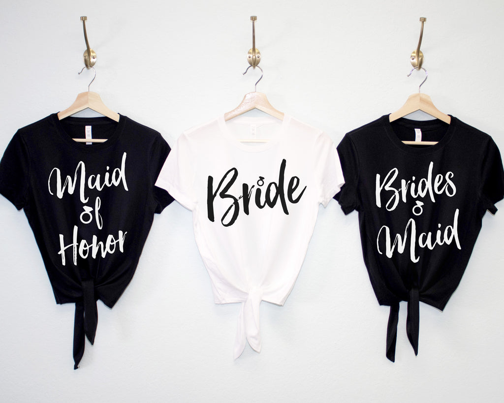 WEDDING Crop Top Shirts with Front Ties