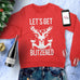 LET'S GET BLITZENED Christmas Sweatshirt Unisex Crew Neck - Pick Wine or Beer