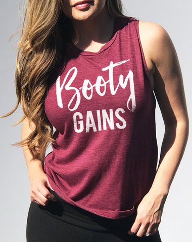 Booty Gains Women's Muscle Tank - Merlot Red