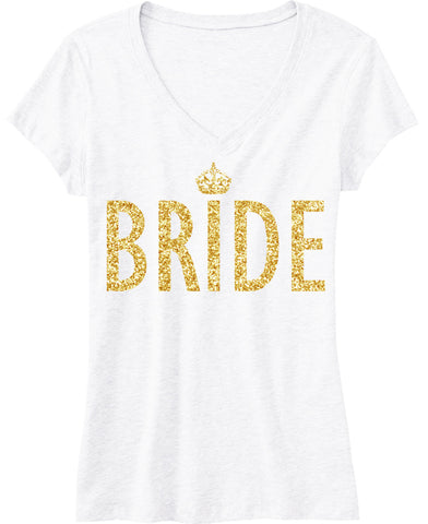 BRIDE Gold GLITTER SHIRT White V-neck