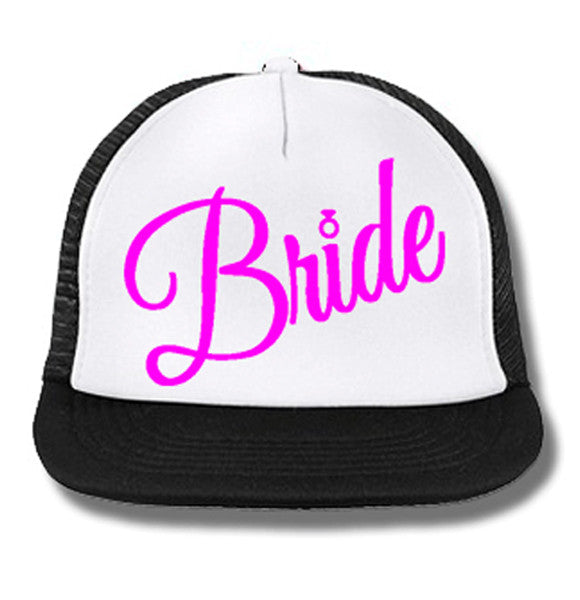 BRIDE Cursive Snapback Trucker Hat White with Pink Print