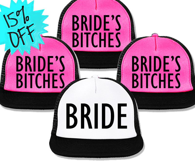 Bachelorette Party Hats Deal - BRIDE White & BRIDE'S BITCHES Pink with Black Print