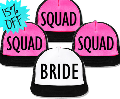 Bachelorette Party Hats Deal - BRIDE White & BRIDE SQUAD Pink with Black Print