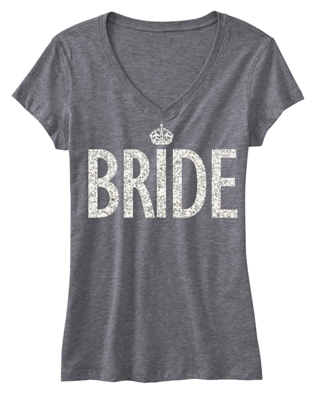 BRIDE GLITTER SHIRT Gray V-neck