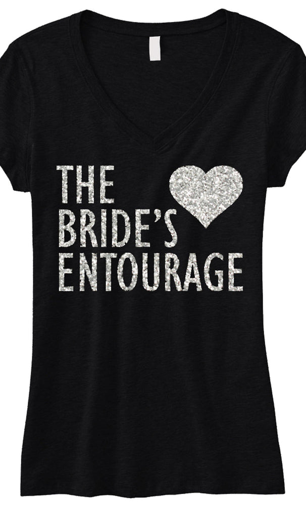 BRIDE'S ENTOURAGE GLITTER Shirt Black V-neck