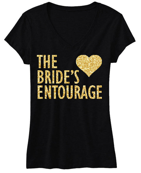 BRIDE'S ENTOURAGE Gold GLITTER Shirt Black V-neck