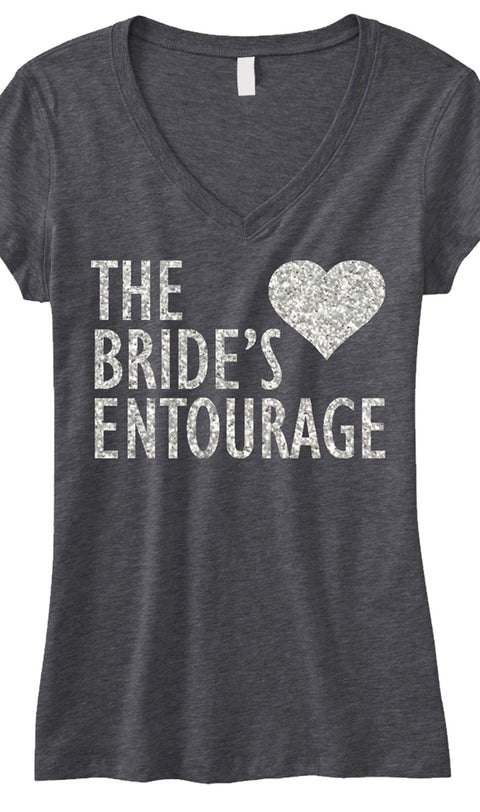 BRIDE'S ENTOURAGE GLITTER Shirt Gray V-neck