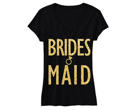 BRIDESMAID Gold GLITTER Shirt Black Vneck