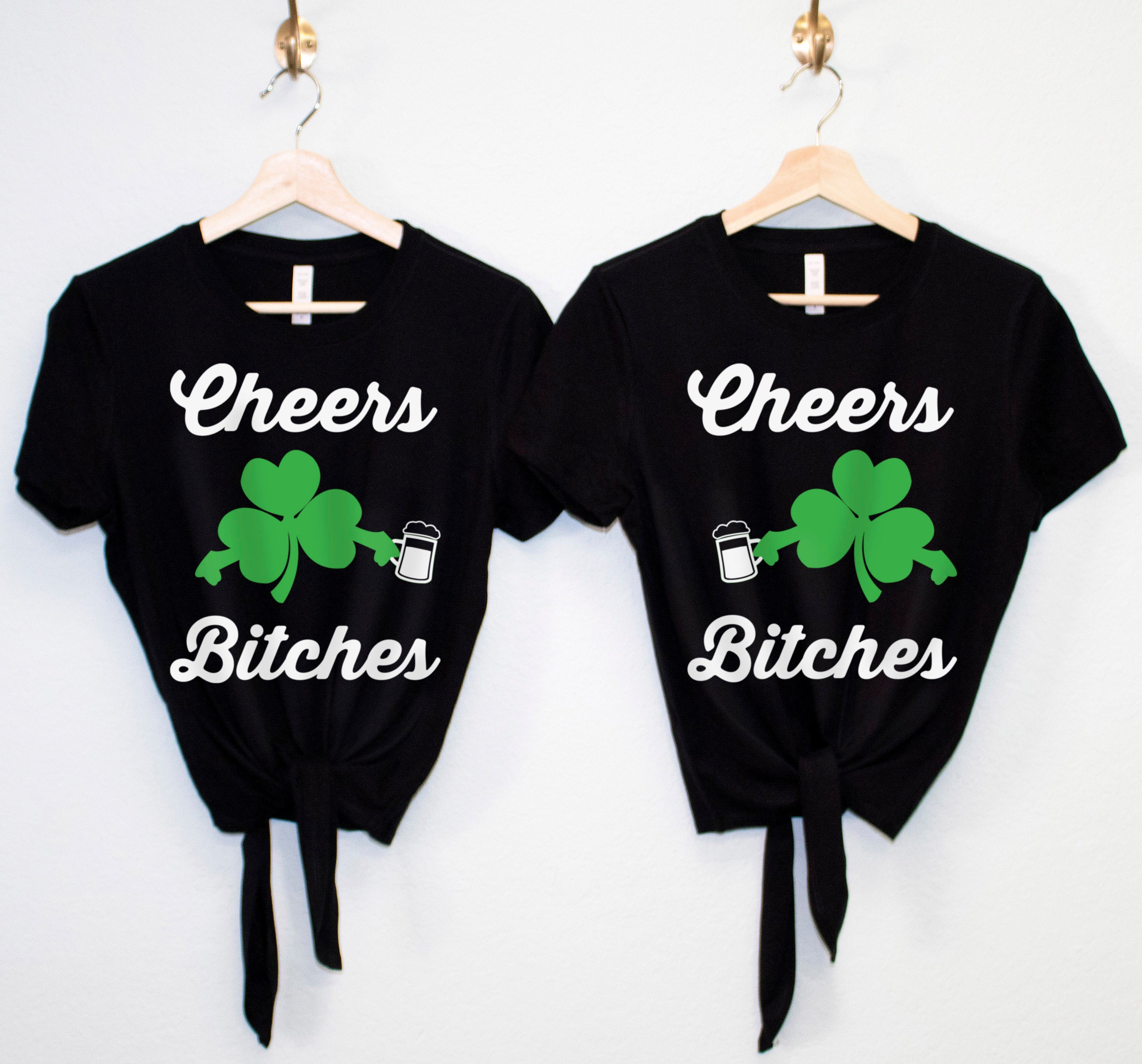 bdf891249 CHEERS BITCHES St Patrick's Day Crop Top with Front Tie - Pick Color ...