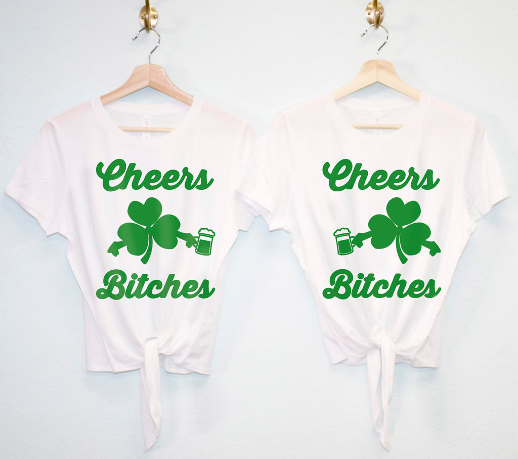 d3f0e406b ... CHEERS BITCHES St Patrick's Day Crop Top with Front Tie - Pick Color ...