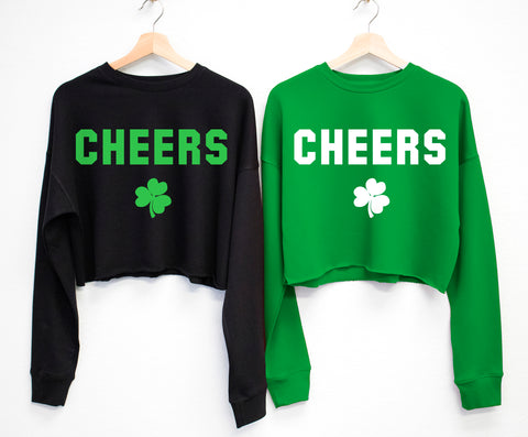 CHEERS St. Patrick's Day Cropped Sweater