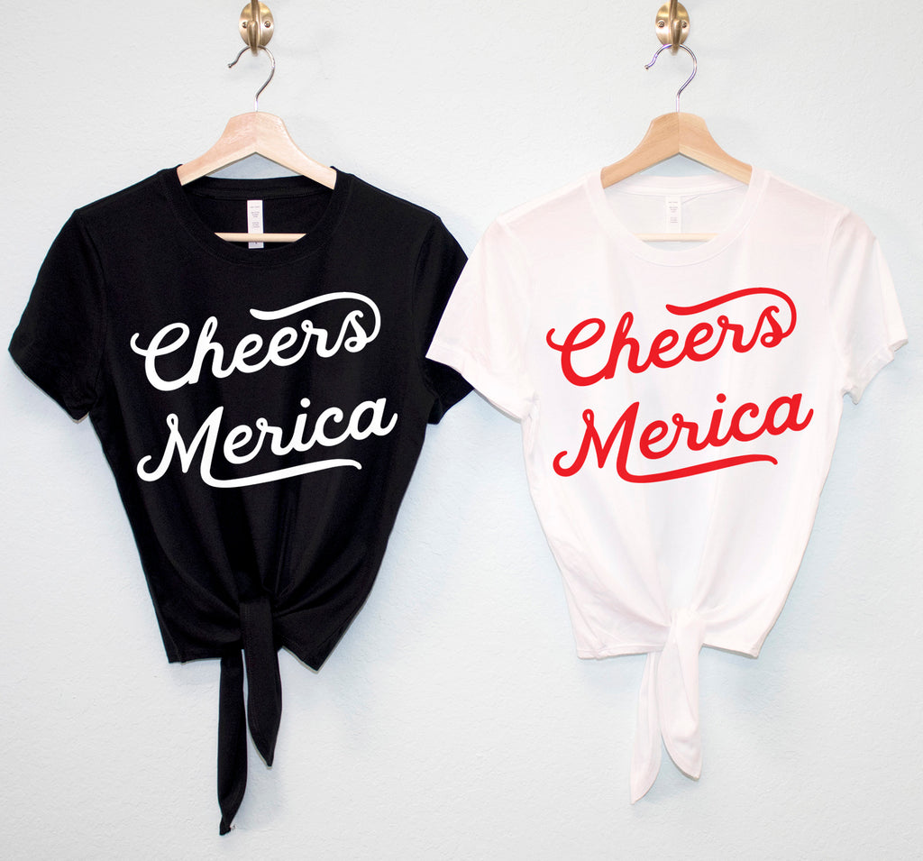 CHEERS MERICA Crop Top Shirt with front tie