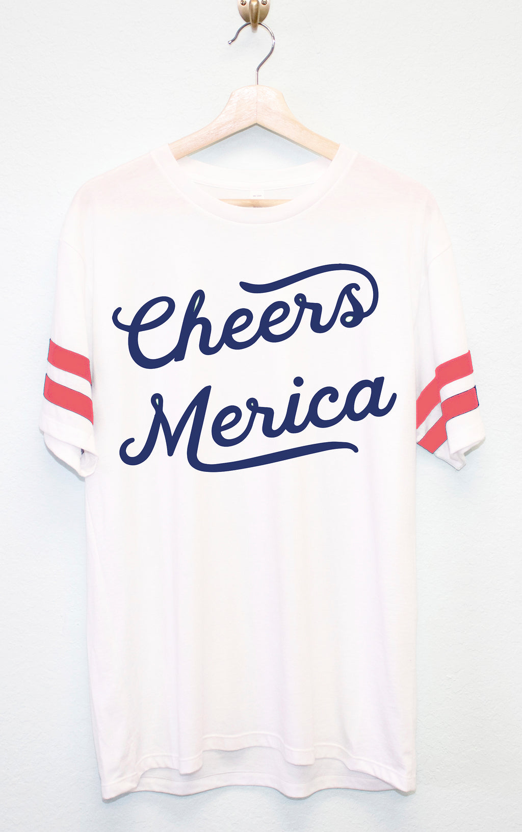 Cheers Merica Unisex Shirt with Red Stripes