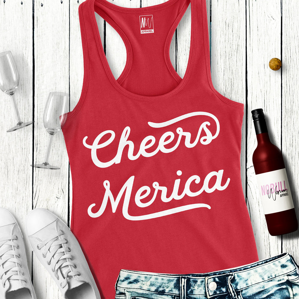 CHEERS MERICA Tank Top 4th of July Shirt - Pick Color