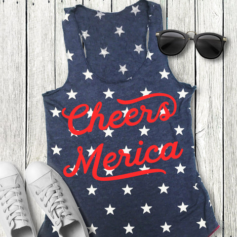 Cheers Merica Blue Stars Tank Top
