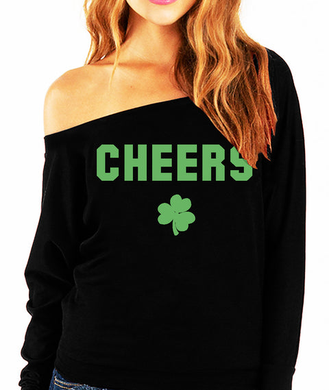 CHEERS St. Patrick's Day Off-Shoulder Sweatshirt