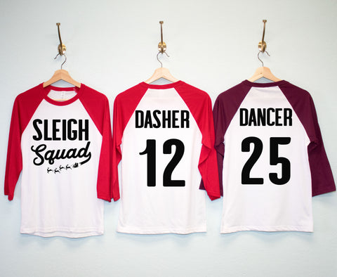 SLEIGH SQUAD CUSTOM Christmas Shirts - Custom Name & Number