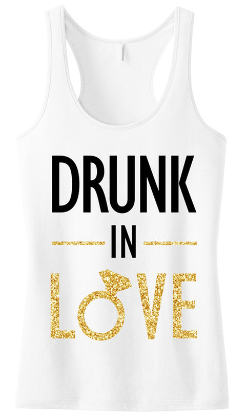 DRUNK IN LOVE Bride Gold Glitter White Tank Top