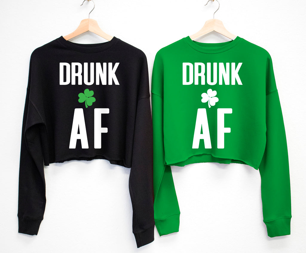 DRUNK AF St. Patrick's Day Cropped Sweater