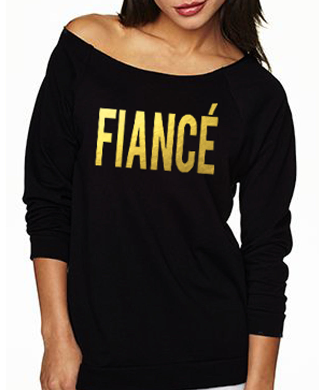 FIANCE Off-Shoulder Long Sleeve Shirt - Gold Foil Print