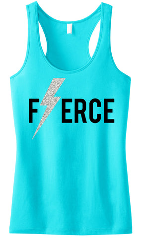 FIERCE Glitter Lightning Tank Top Aqua