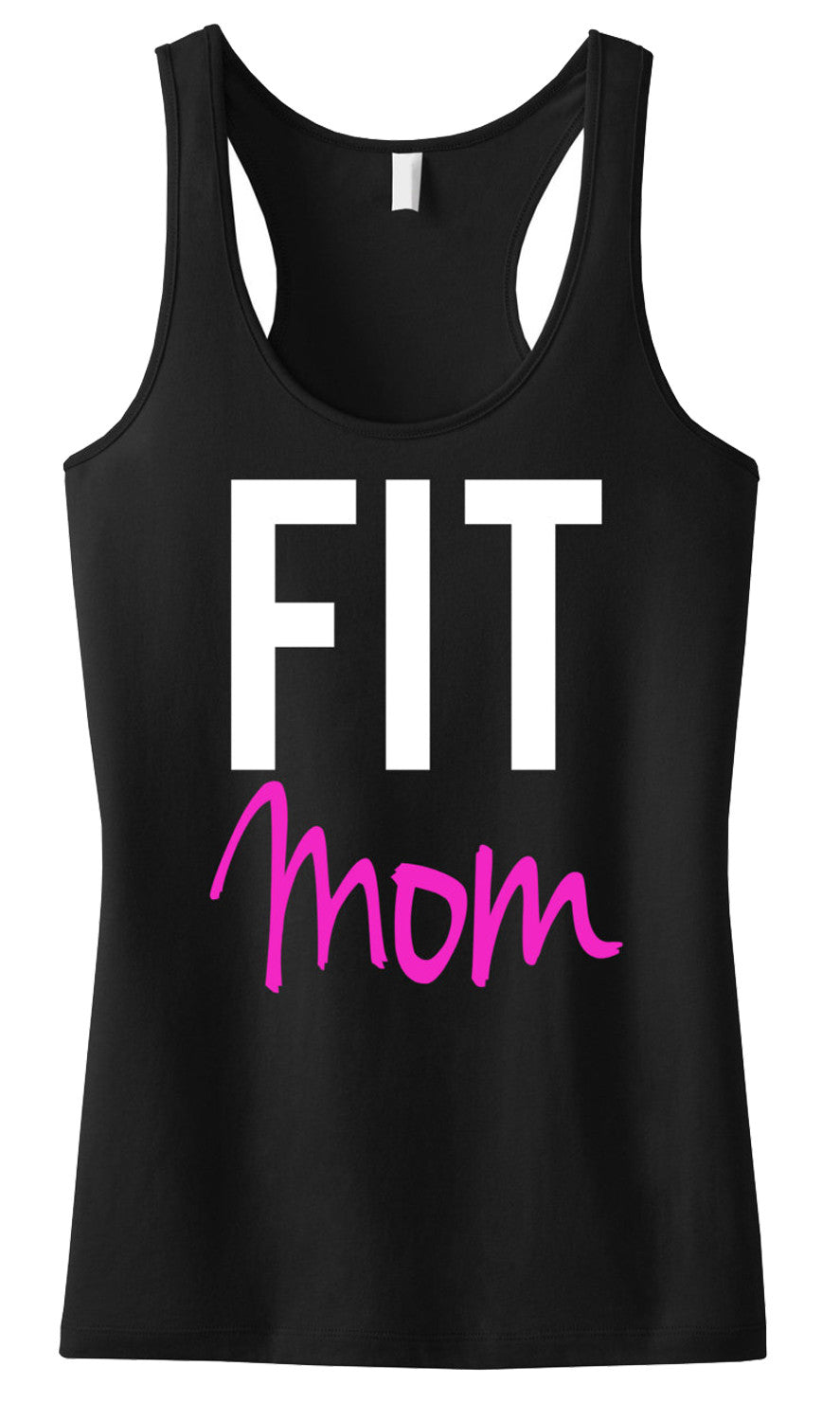 FIT MOM Tank Top, Black Racerback
