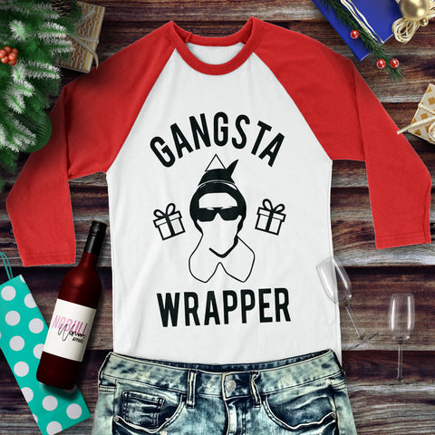 GANGSTA WRAPPER Christmas Baseball Tee