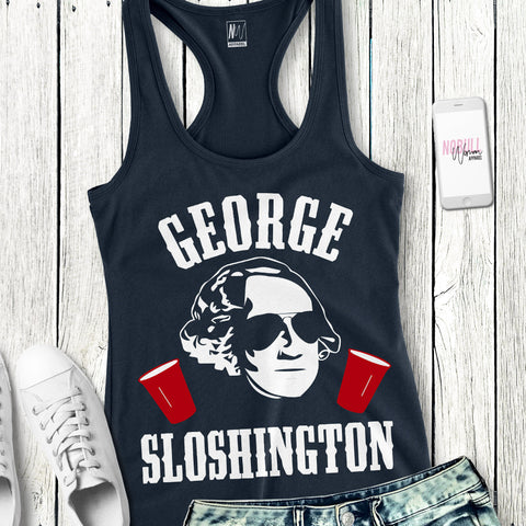 George Sloshington - Navy Tank with White & Red Print