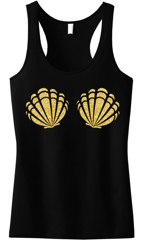 MERMAID Sea Shells Black Tank Top Gold Glitter Print