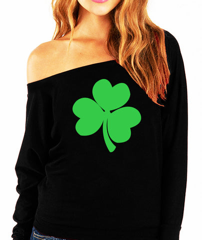 St. Patty's Day Shamrock Off Shoulder Shirt - Black