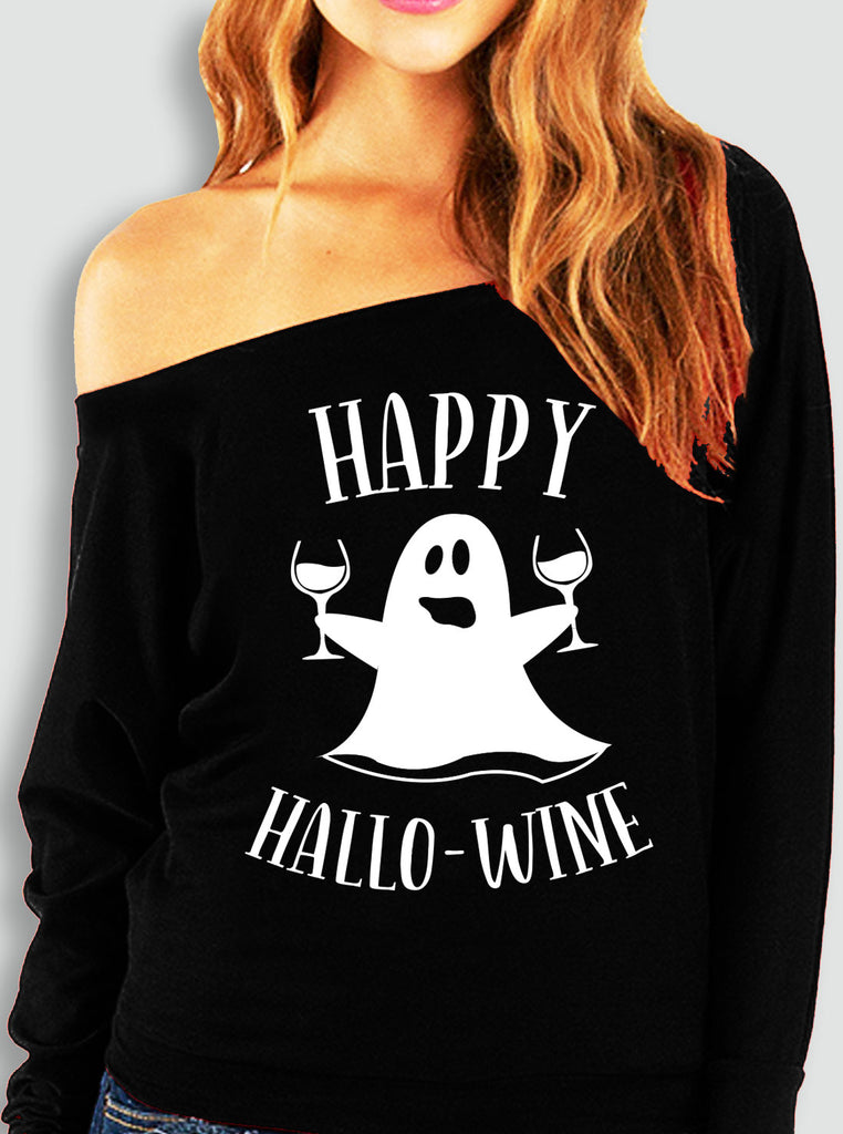 Happy HalloWine Ghost Off-Shoulder Sweatshirt