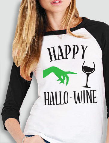 Happy HalloWine Witch Baseball Tee - Pick Color