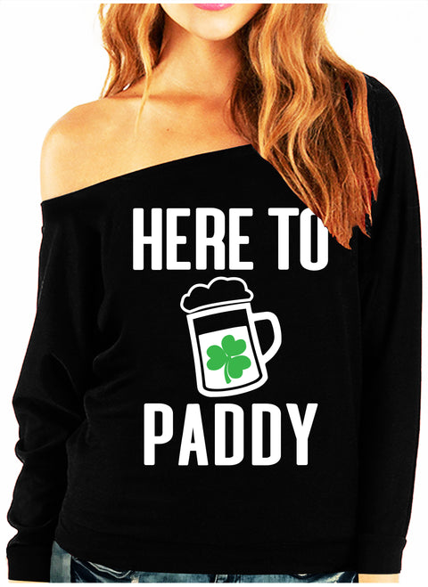HERE TO PADDY St. Patrick's Day Off-Shoulder Sweatshirt
