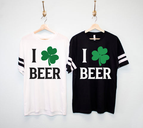 I LOVE BEER Shamrock Men's St. Patrick's Day Shirt