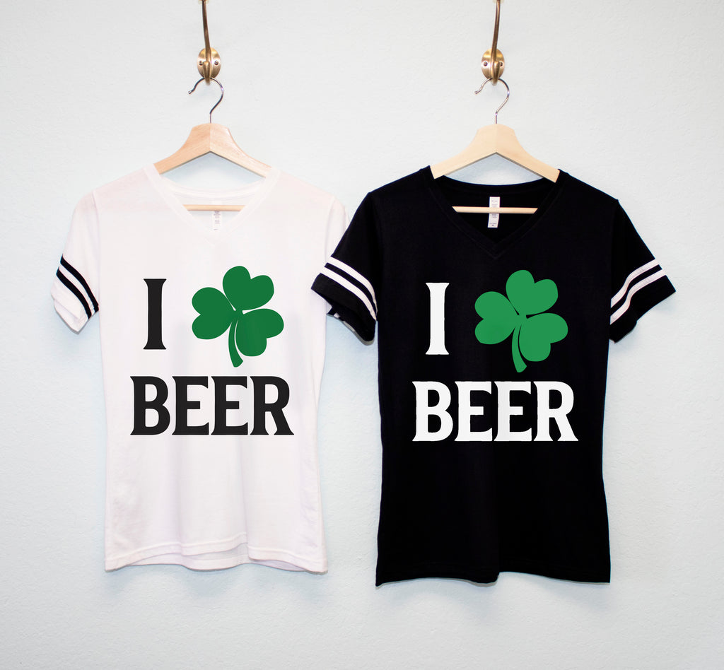 I LOVE BEER Shamrock St Patrick's Day Shirt Women