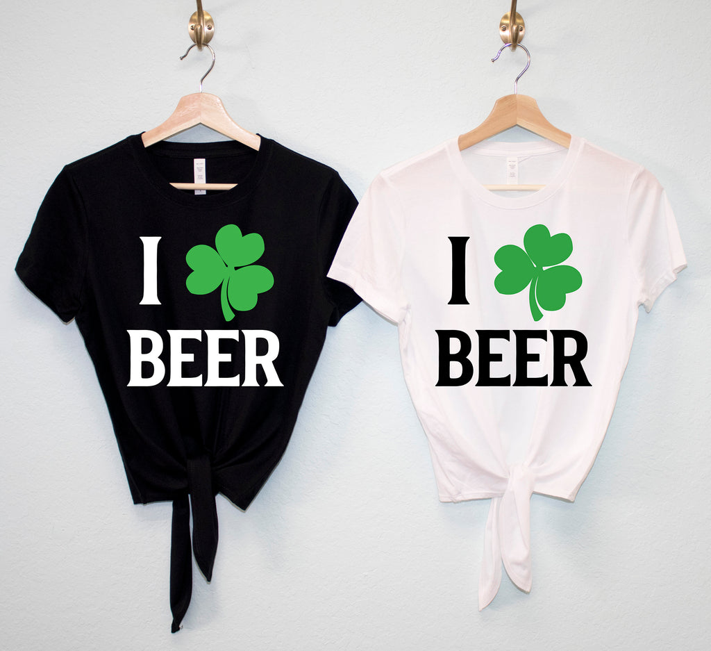 I LOVE BEER Shamrock St. Patrick's Day Crop Top Shirts