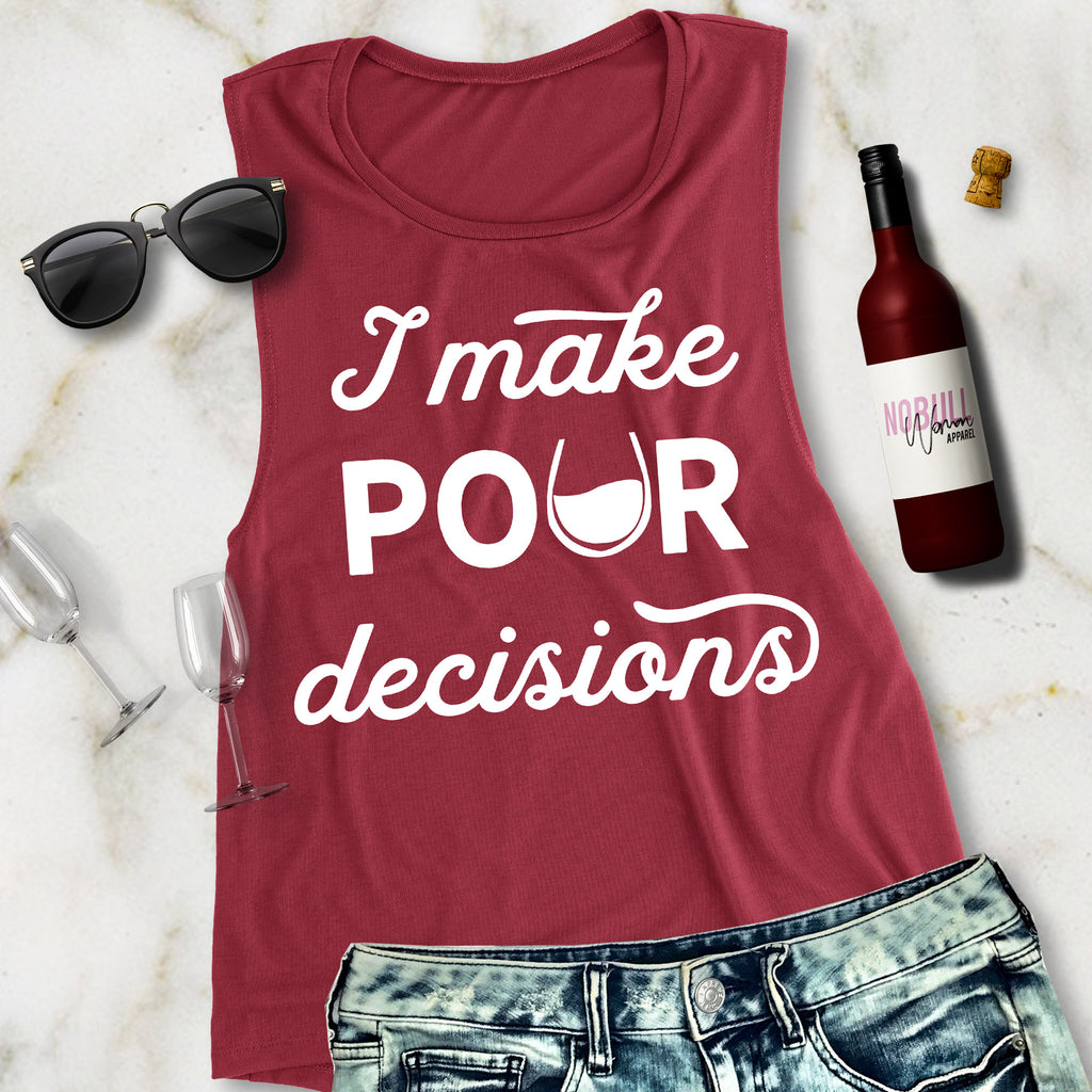 POUR DECISIONS Burgundy Muscle Tank Top